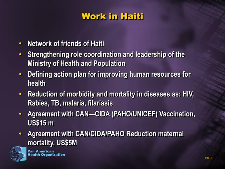 Work in Haiti