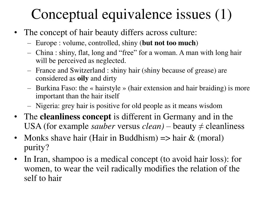 Conceptual equivalence issues (1)