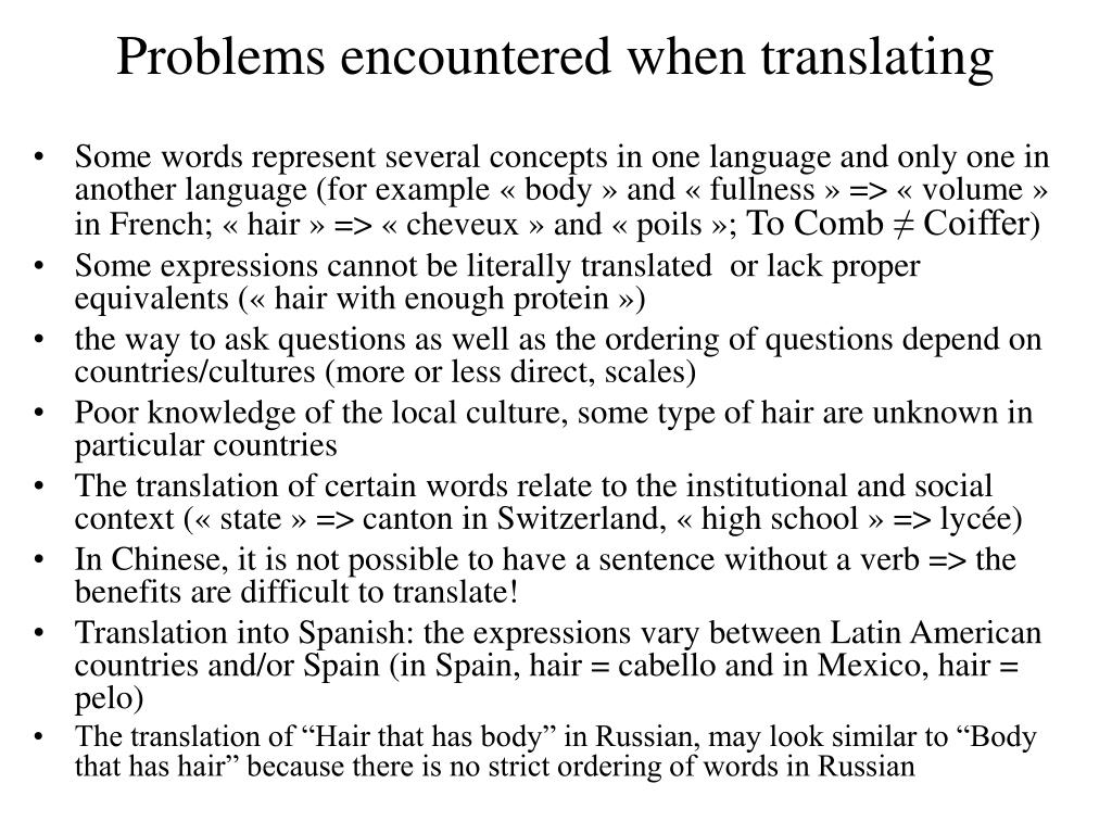 Problems encountered when translating