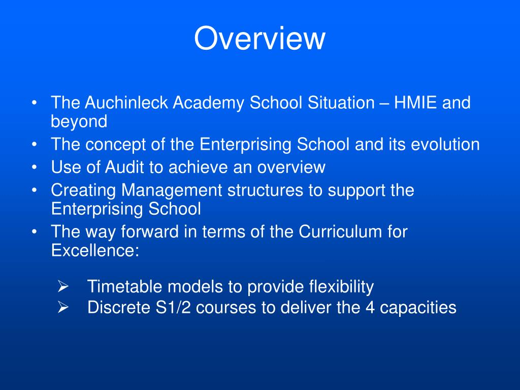 The Auchinleck Academy School Situation – HMIE and beyond
