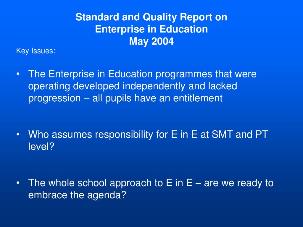Standard and Quality Report on