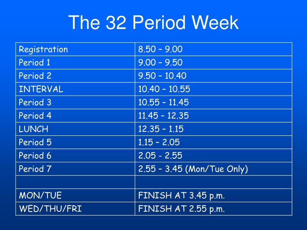 The 32 Period Week