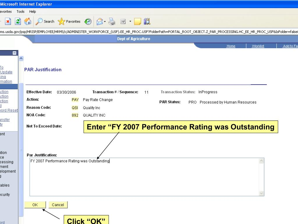 "Enter ""FY 2007 Performance Rating was Outstanding"