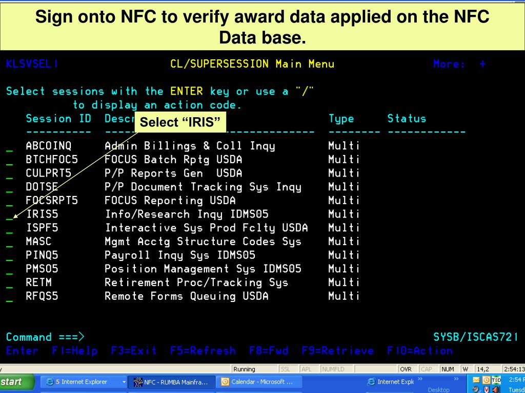 Sign onto NFC to verify award data applied on the NFC