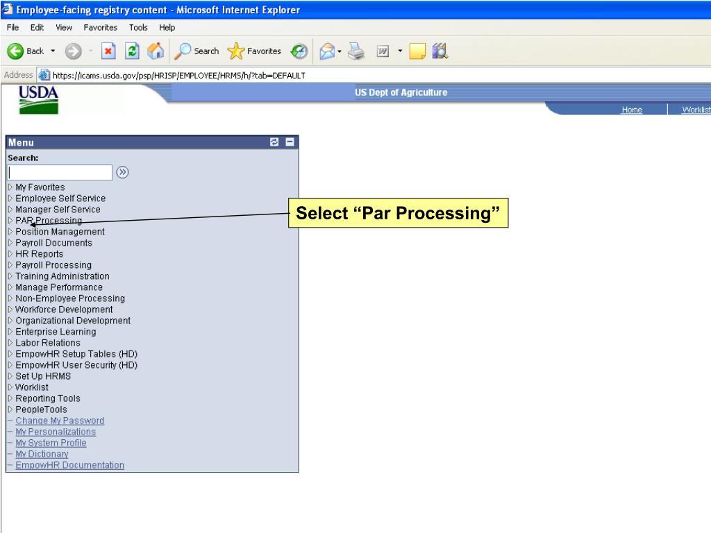 """Select """"Par Processing"""""""