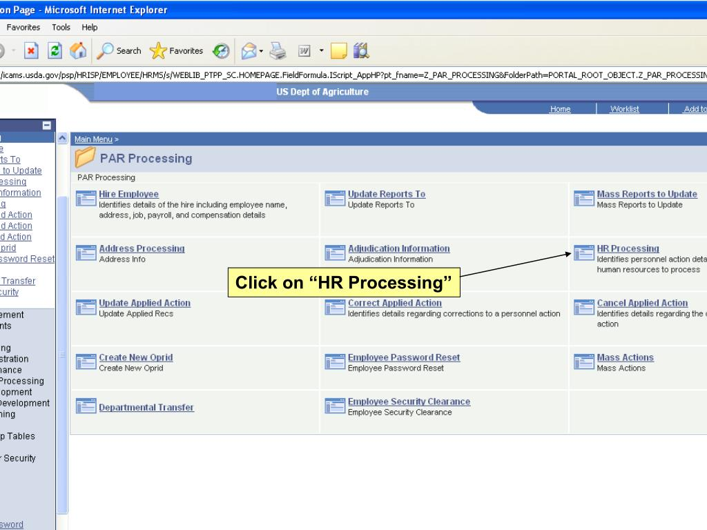 "Click on ""HR Processing"""