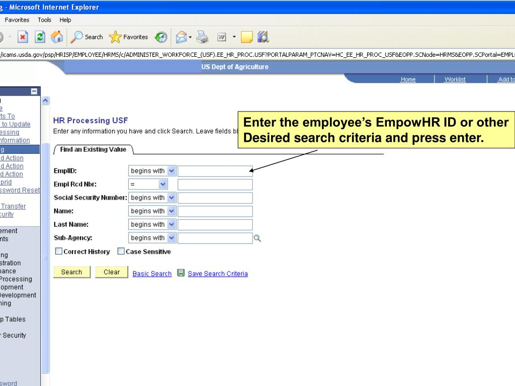 Enter the employee's EmpowHR ID or other