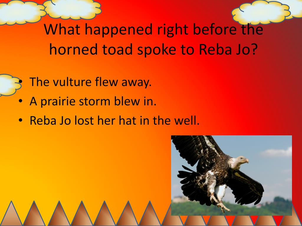 What happened right before the horned toad spoke to Reba Jo?