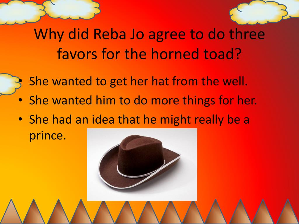 Why did Reba Jo agree to do three favors for the horned toad?