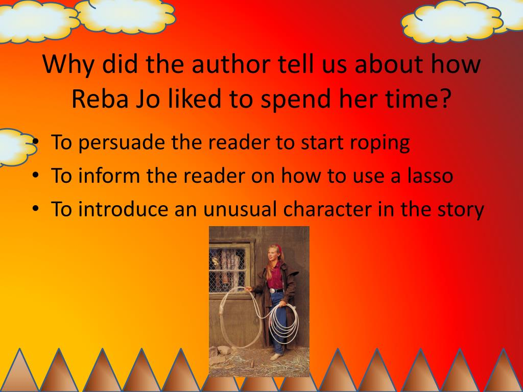 Why did the author tell us about how Reba Jo liked to spend her time?