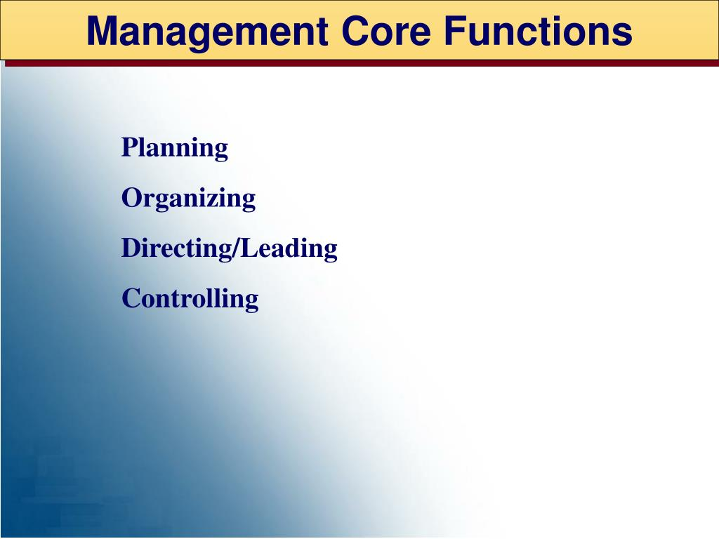 Management Core Functions