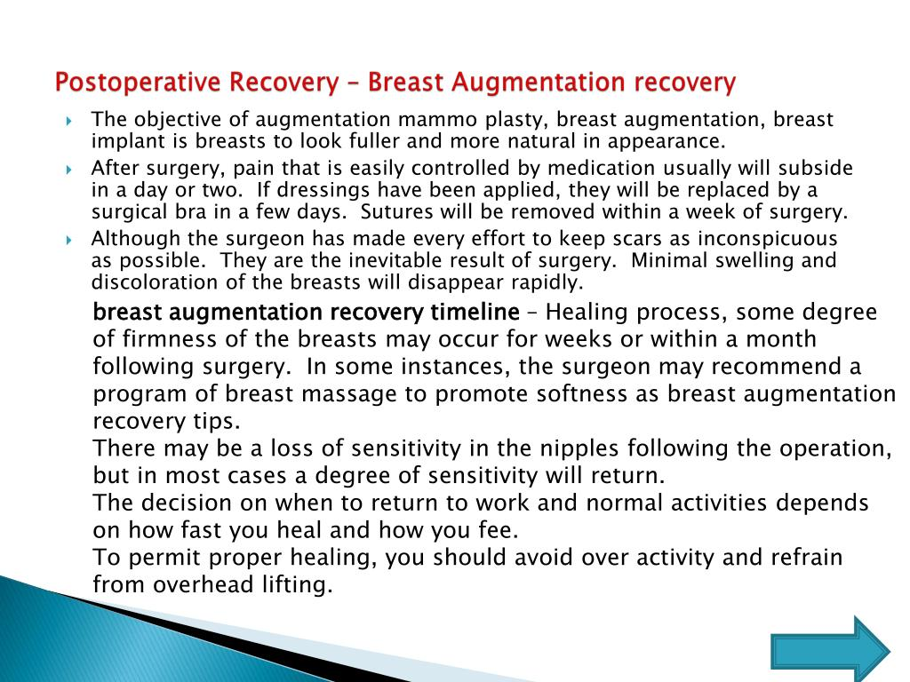 Postoperative Recovery – Breast Augmentation recovery