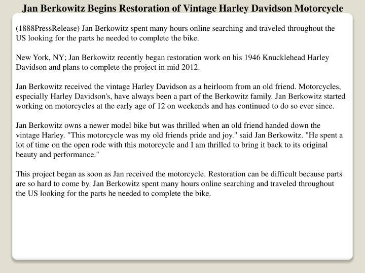 Jan Berkowitz Begins Restoration of Vintage Harley Davidson Motorcycle