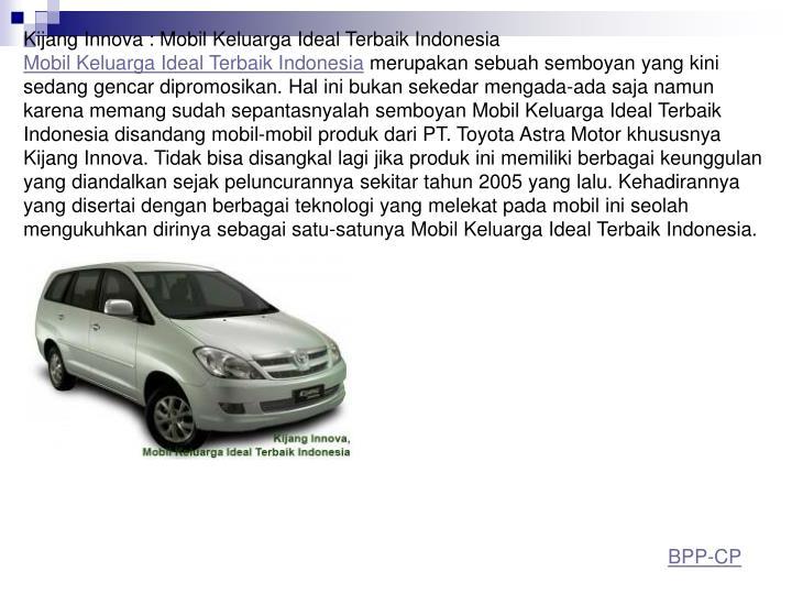 Kijang Innova : Mobil Keluarga Ideal Terbaik Indonesia