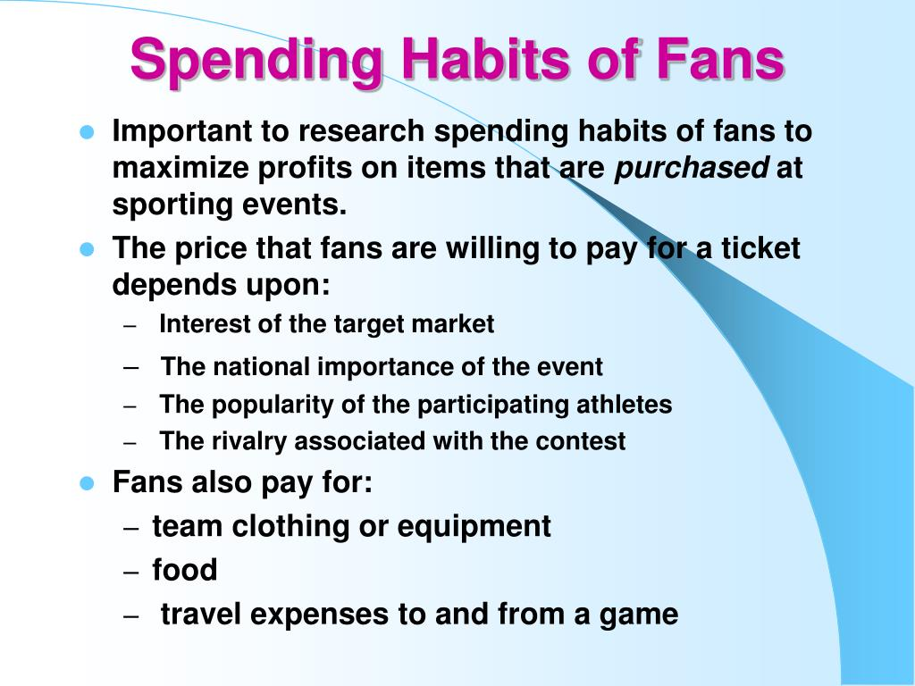 Spending Habits of Fans