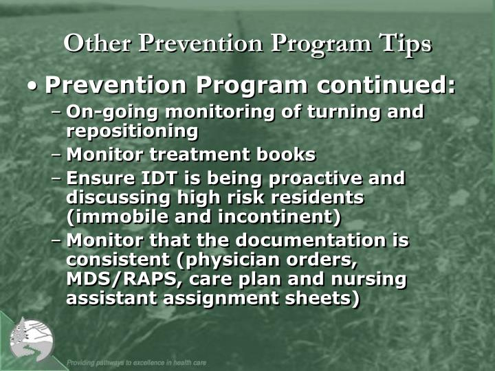 Other Prevention Program Tips