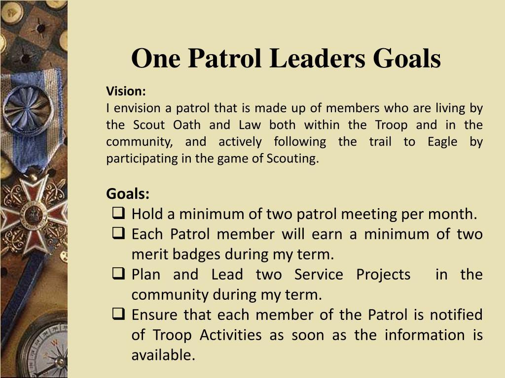 One Patrol Leaders Goals