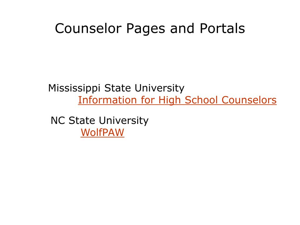 Counselor Pages and Portals