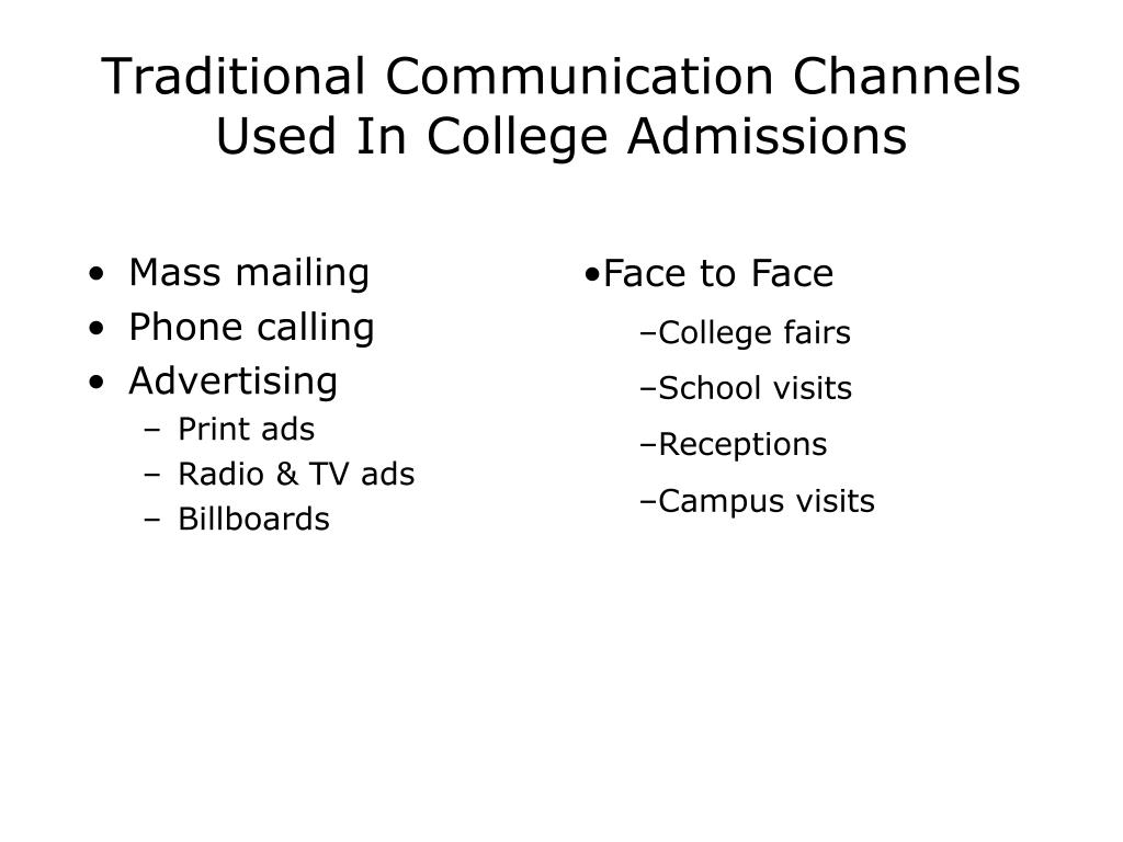 Traditional Communication Channels Used In College Admissions