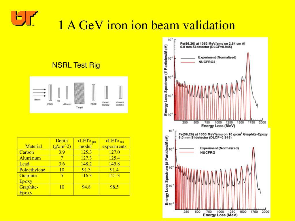 1 A GeV iron ion beam validation