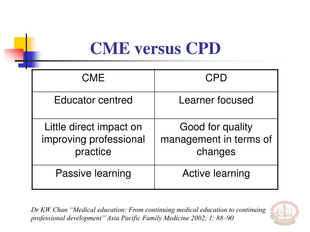 CME versus CPD