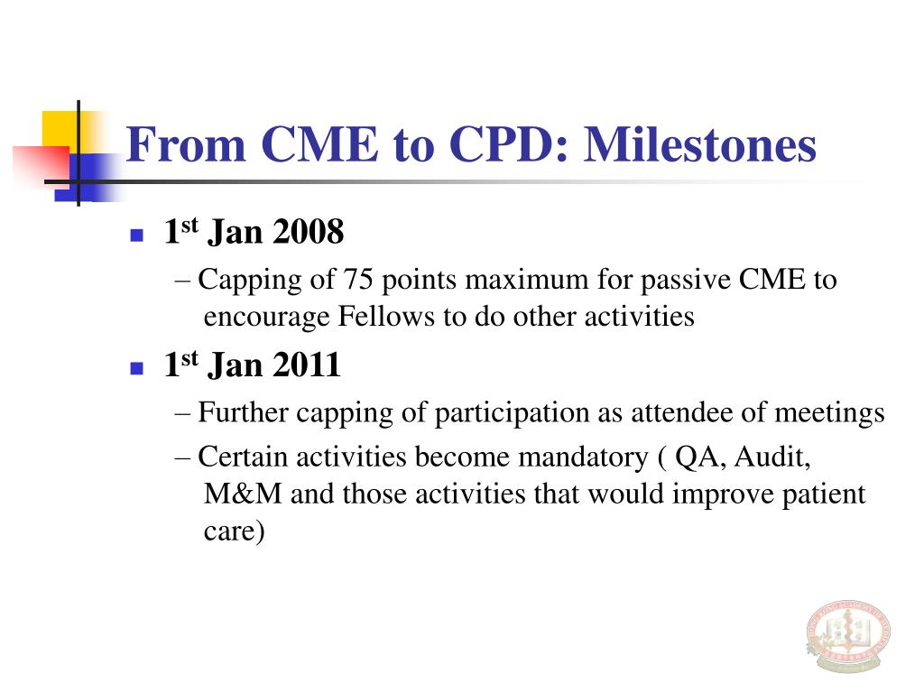 From CME to CPD: Milestones
