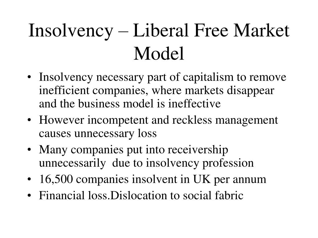 Insolvency – Liberal Free Market Model
