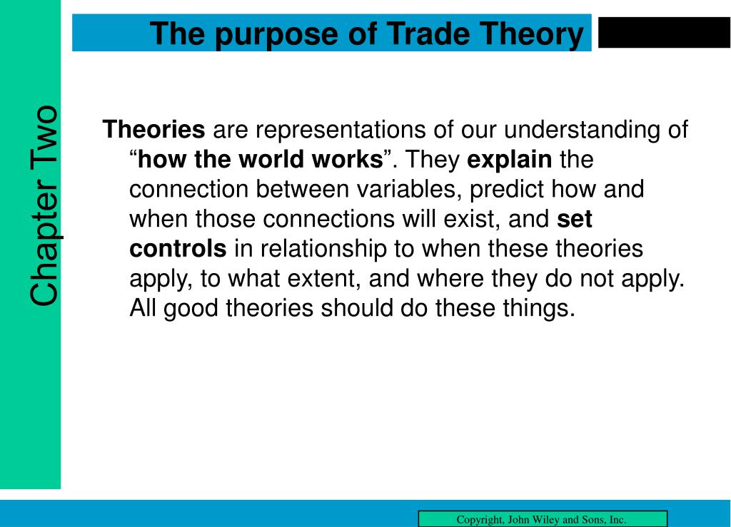 The purpose of Trade Theory