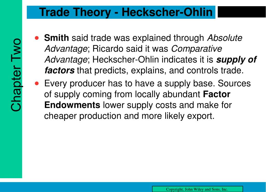 Trade Theory - Heckscher-Ohlin