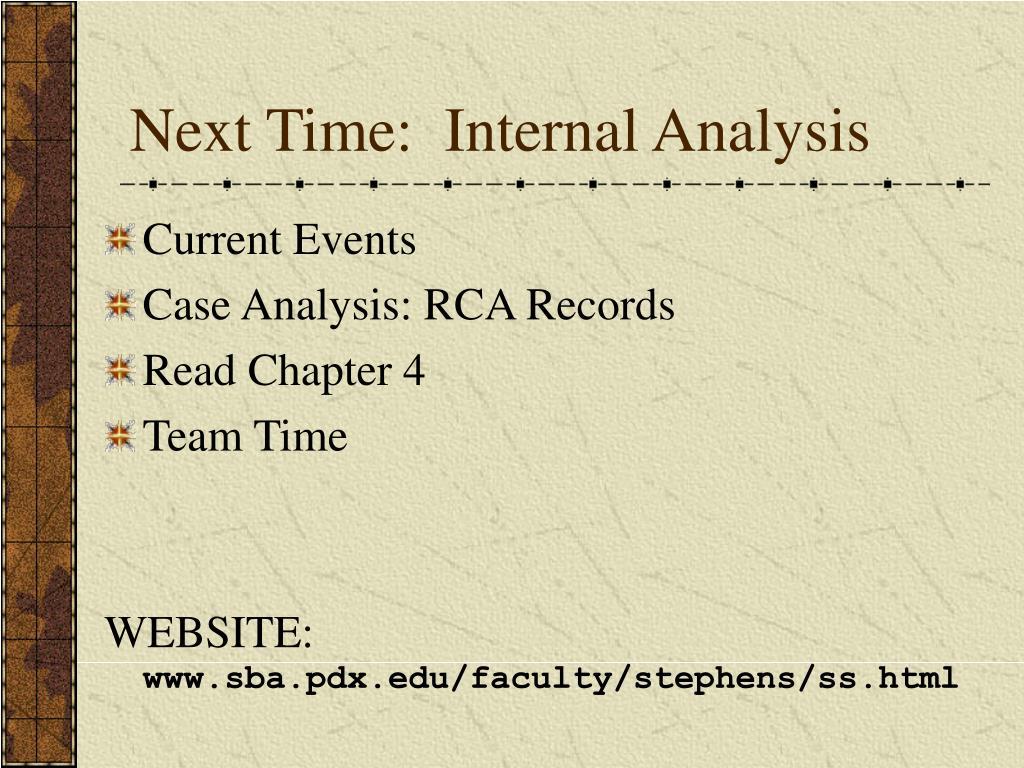 Next Time:  Internal Analysis