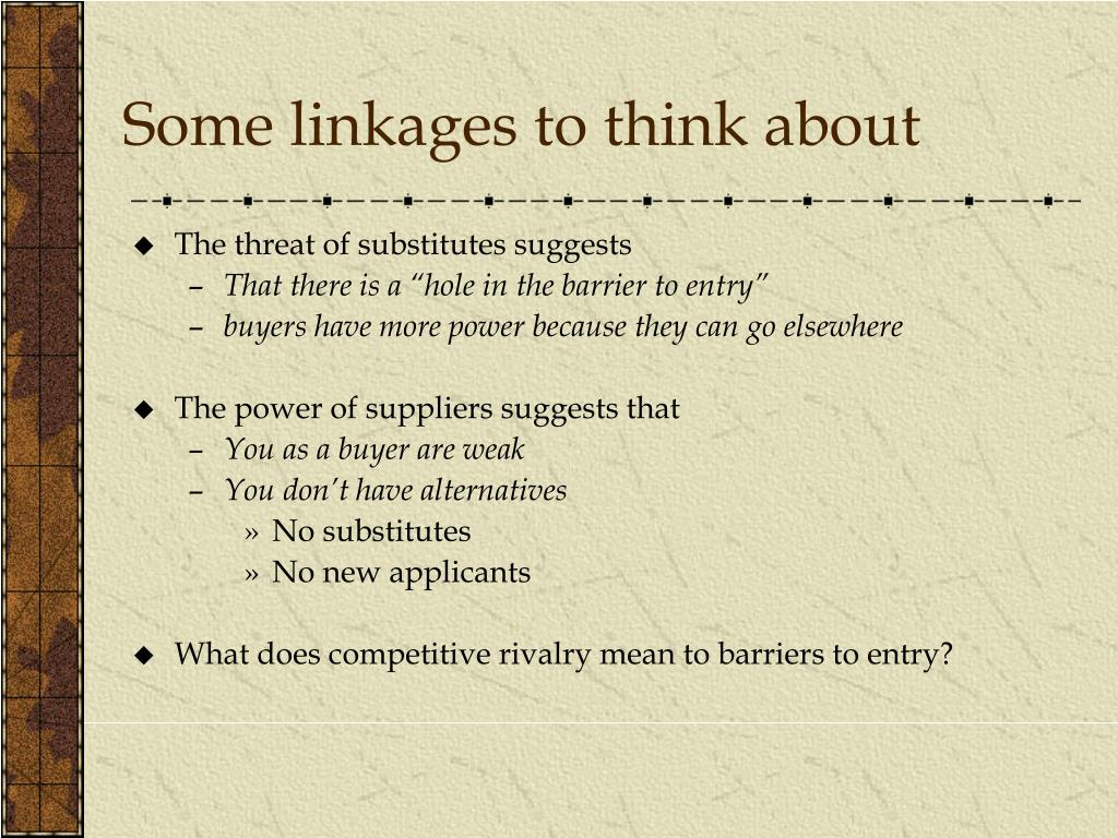 Some linkages to think about