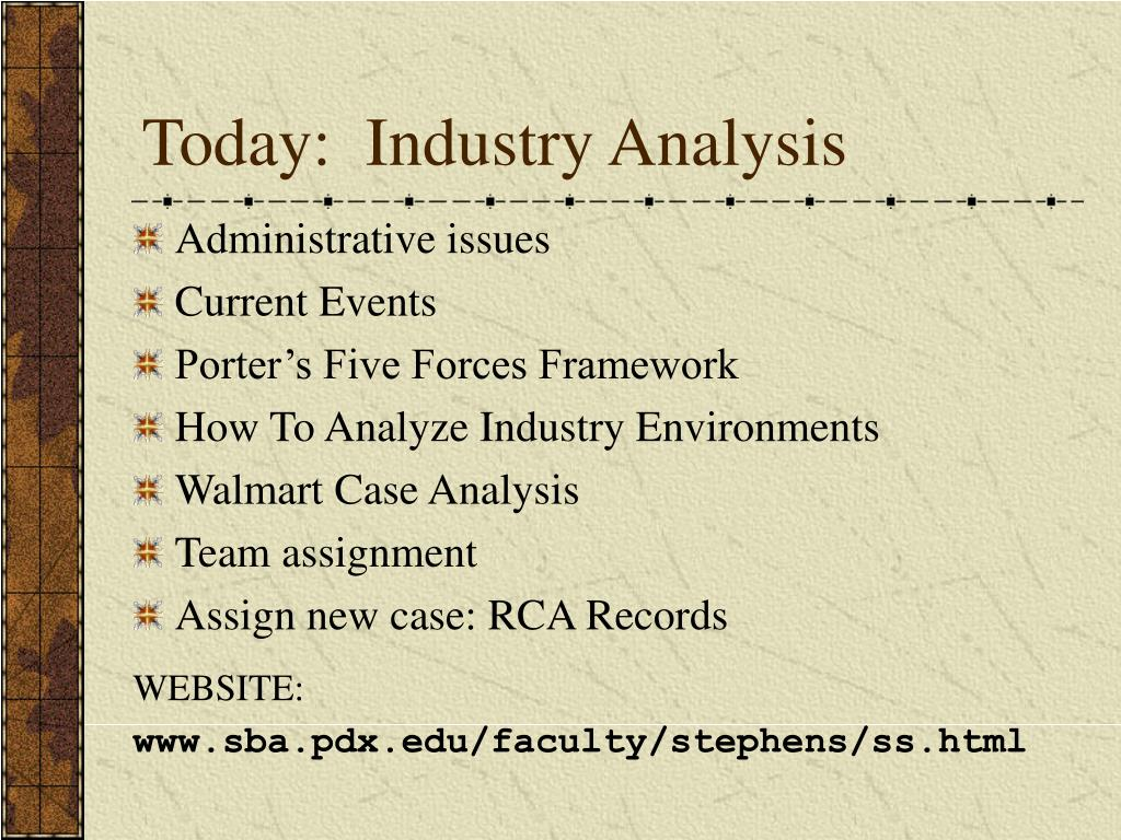 Today:  Industry Analysis
