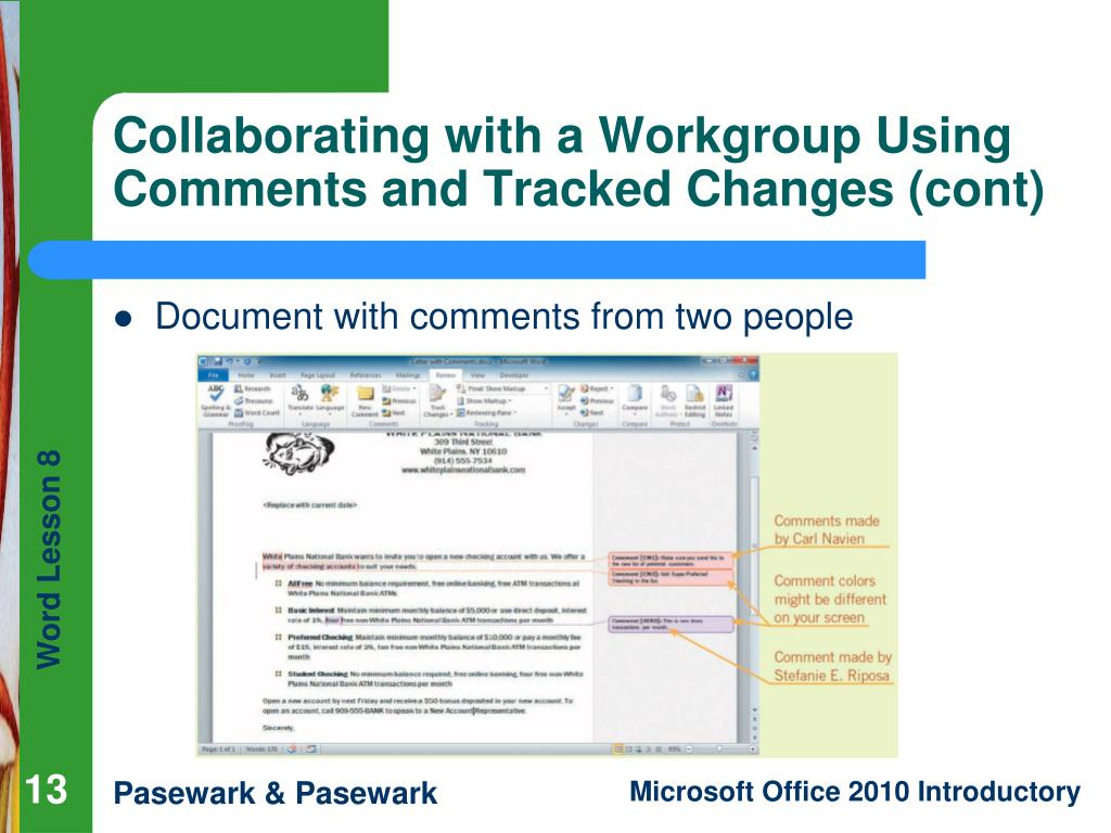 Collaborating with a Workgroup Using Comments and Tracked Changes (