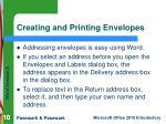 creating and printing envelopes