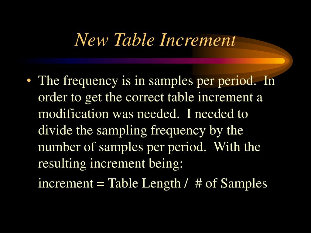 New Table Increment