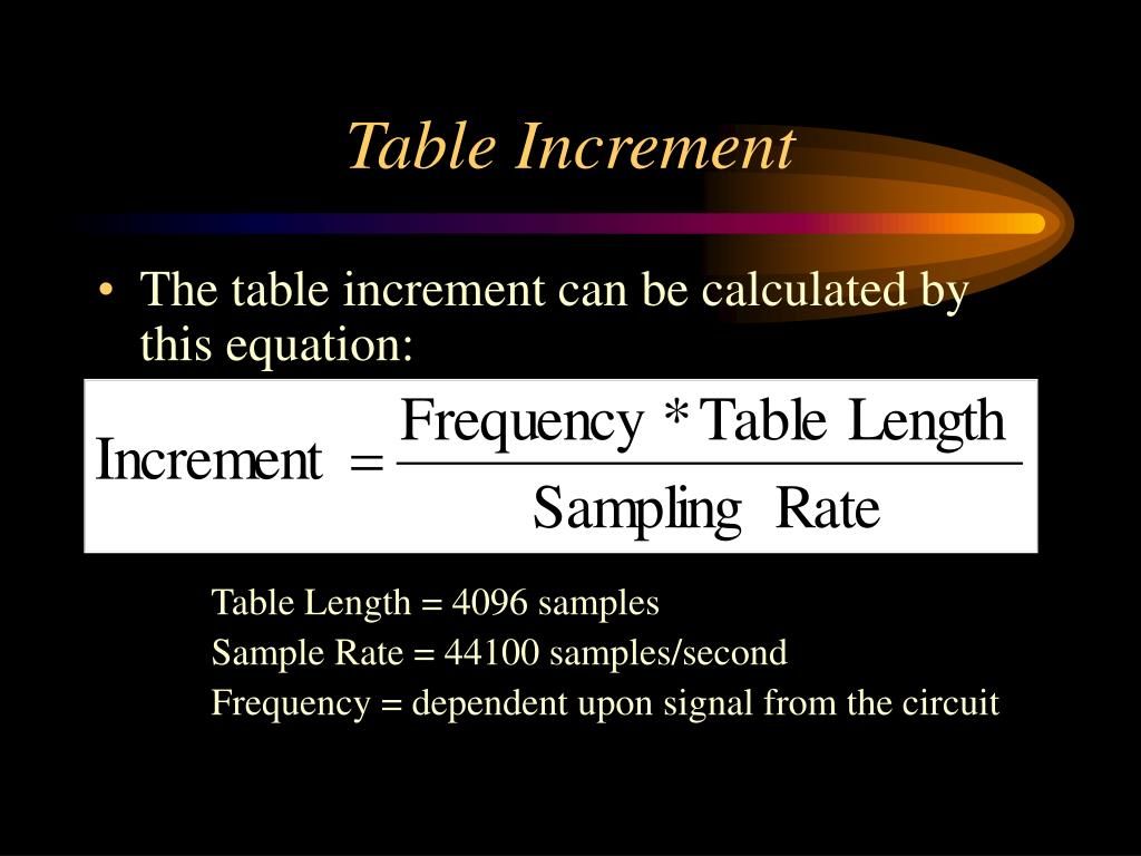Table Increment