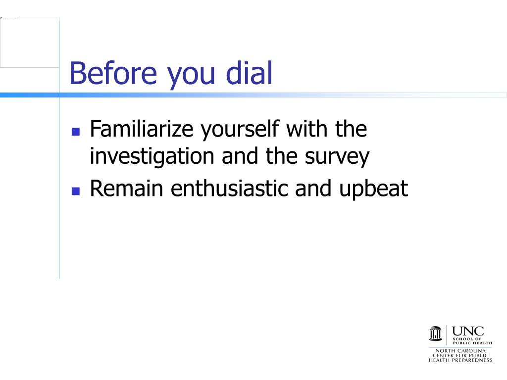 Before you dial