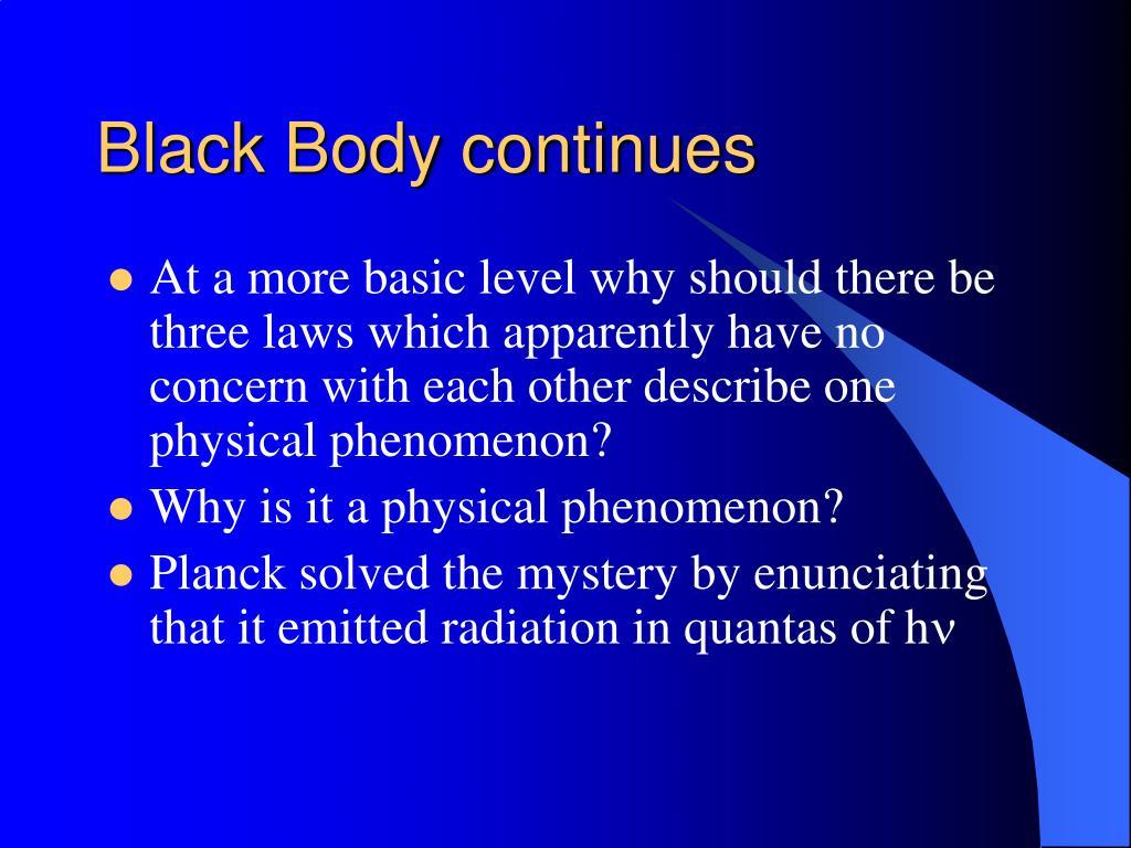 Black Body continues