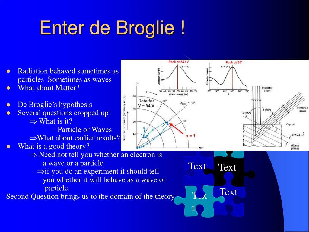 Enter de Broglie !