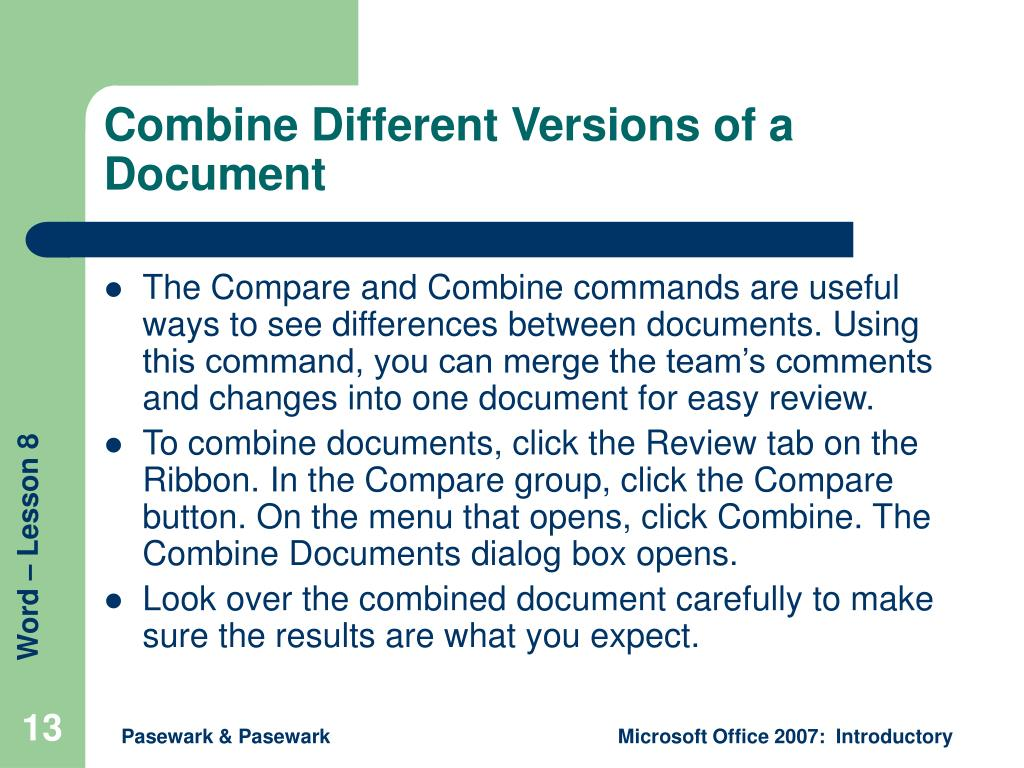 Combine Different Versions of a Document