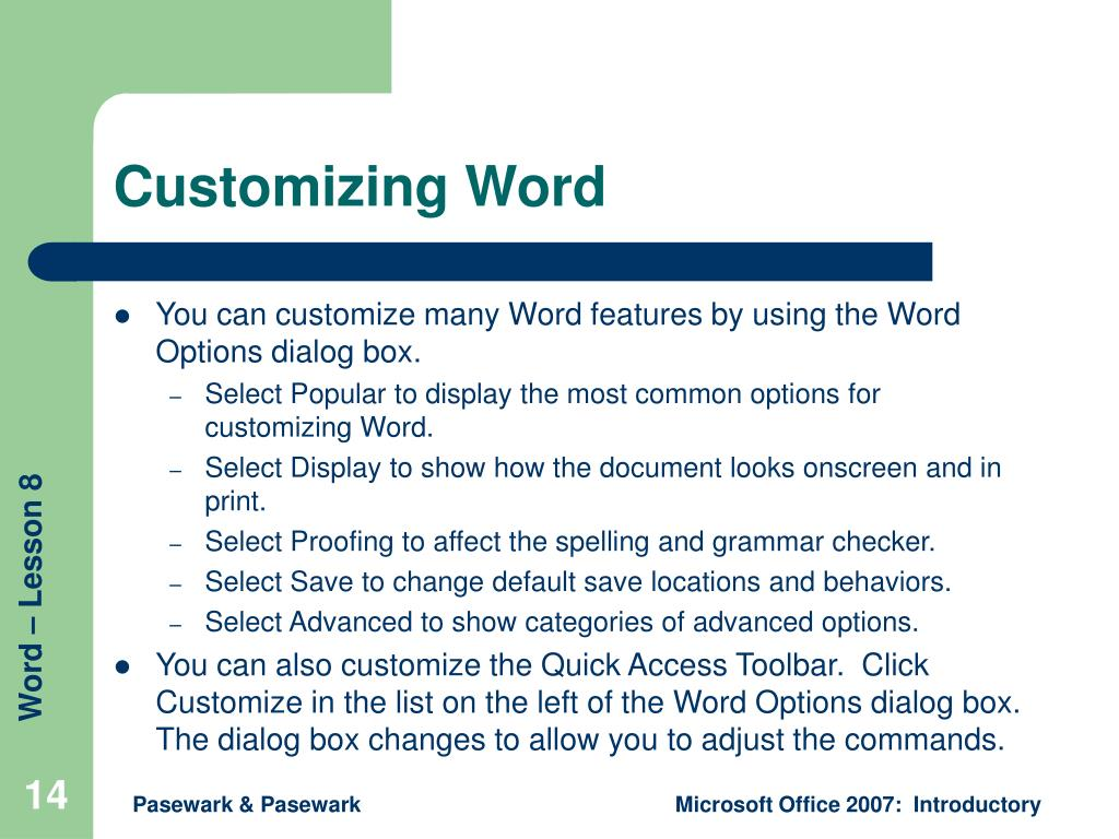 Customizing Word