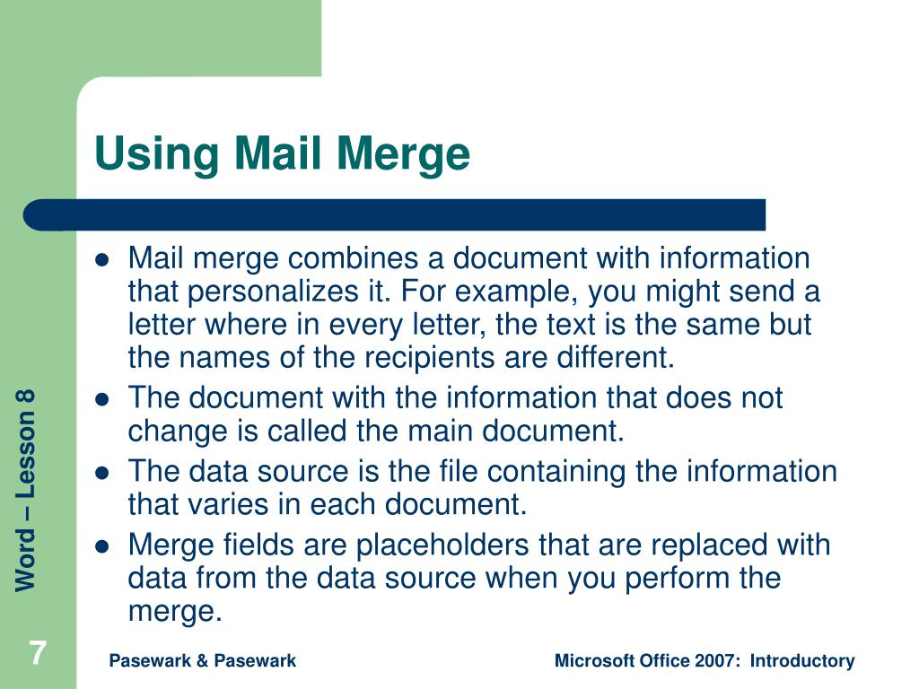 Using Mail Merge