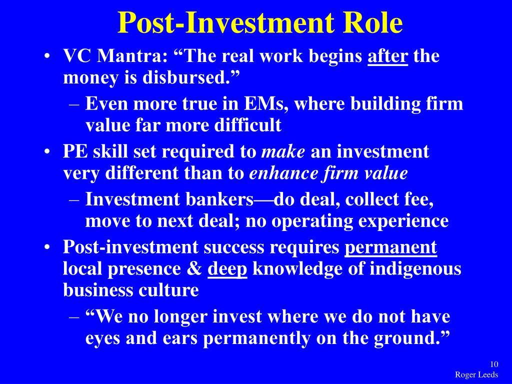 Post-Investment Role