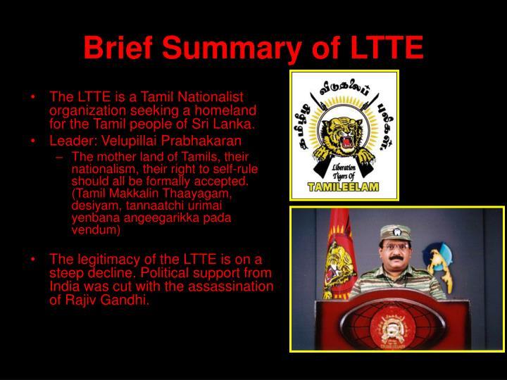 Brief Summary of LTTE