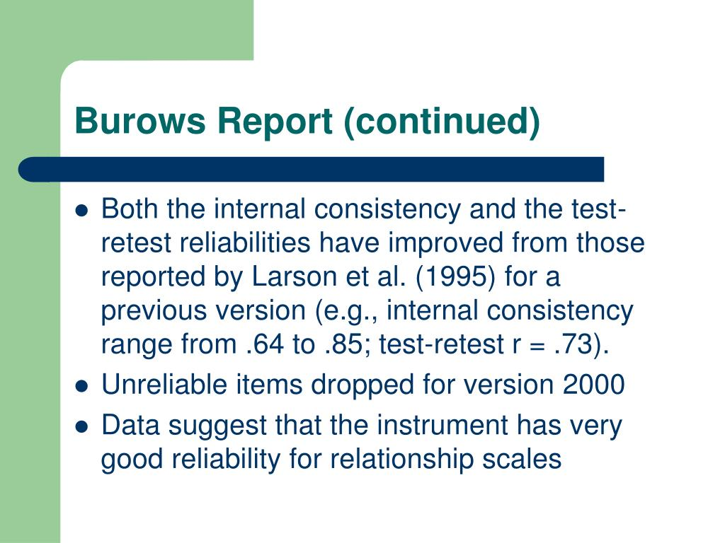 Burows Report (continued)