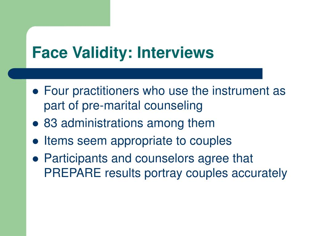 Face Validity: Interviews