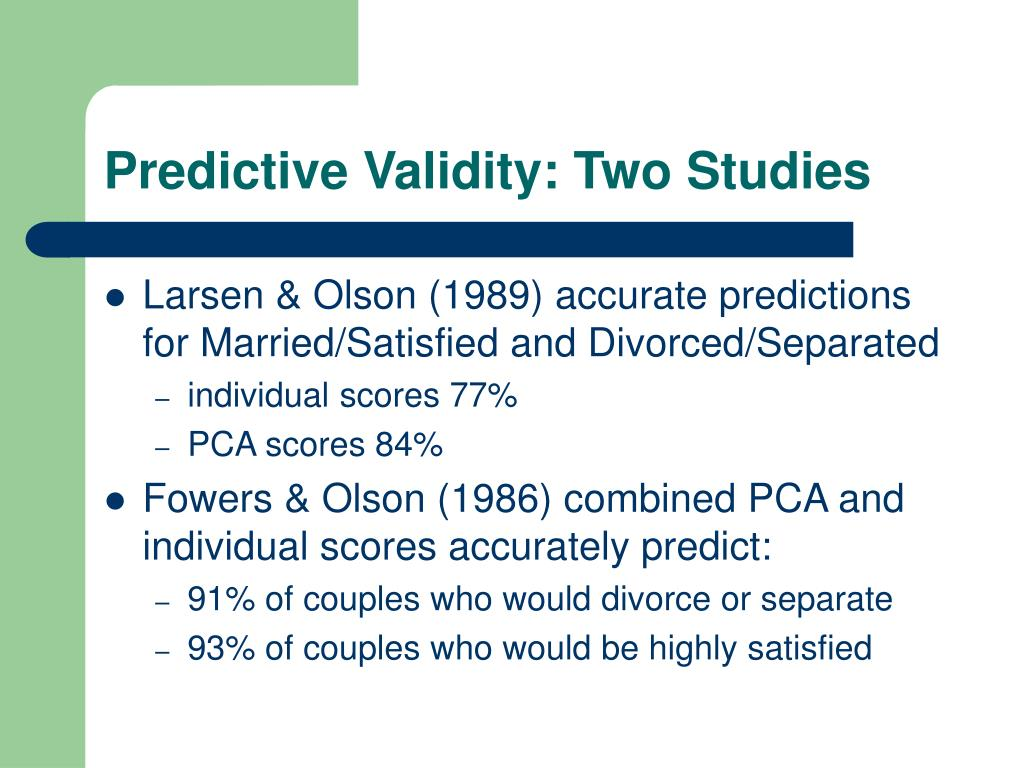 Predictive Validity: Two Studies