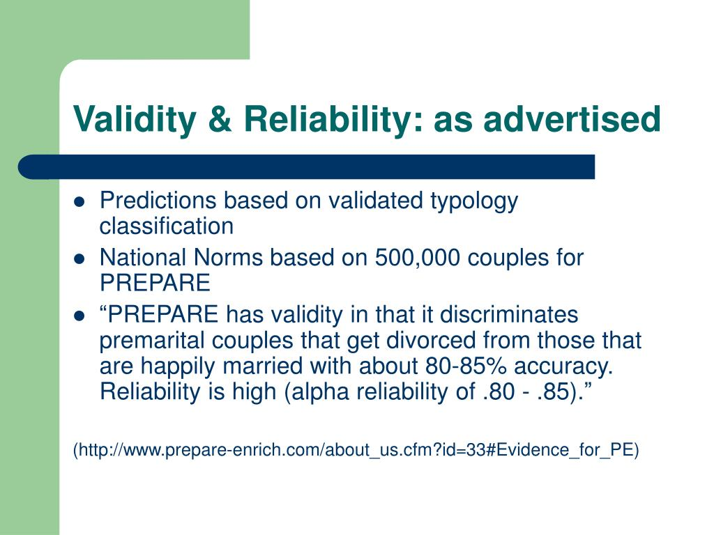 Validity & Reliability: as advertised