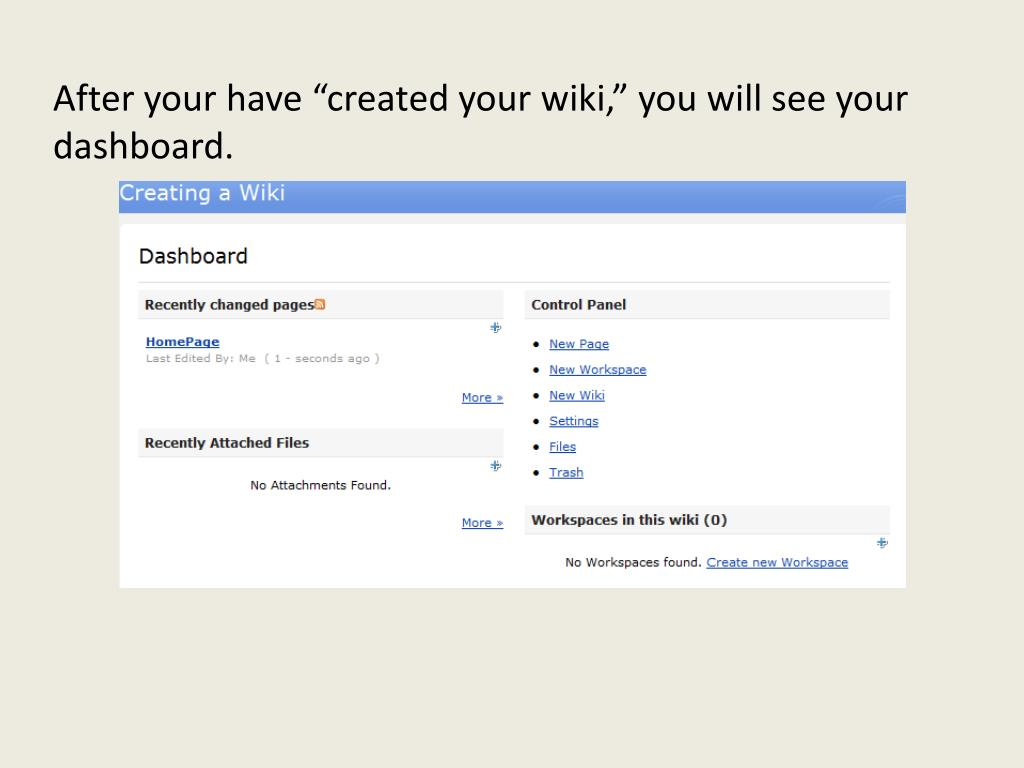 "After your have ""created your wiki,"" you will see your dashboard."