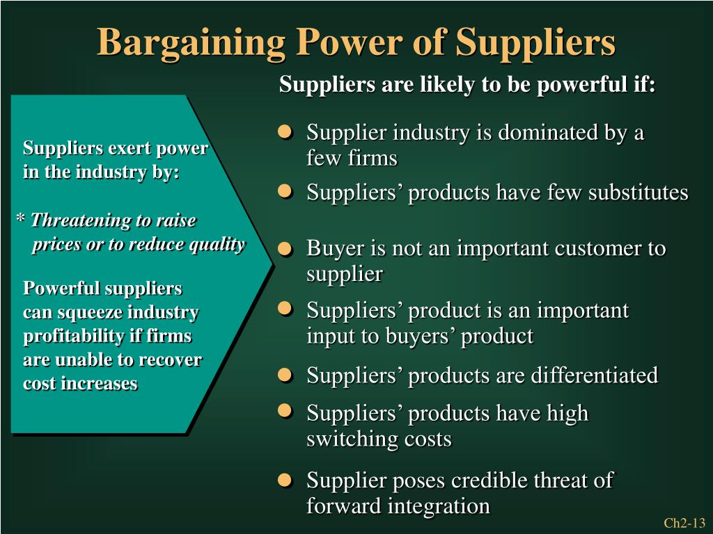 Supplier industry is dominated by a few firms